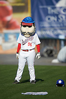Auburn Doubledays mascot Abner during a game against the Mahoning Valley Scrappers on July 17, 2016 at Falcon Park in Auburn, New York.  Mahoning Valley defeated Auburn 3-2.  (Mike Janes/Four Seam Images)