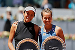 Su-Wei Hsieh (L) and Barbora Strycova (R) during the Mutua Madrid Open Masters match on day eight at Caja Magica in Madrid, Spain.May 11, 2019. (ALTERPHOTOS/A. Perez Meca)