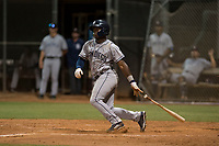 AZL Padres 1 second baseman Lee Solomon (28) follows through on his swing during an Arizona League game against the AZL Padres 2 at Peoria Sports Complex on July 14, 2018 in Peoria, Arizona. The AZL Padres 1 defeated the AZL Padres 2 4-0. (Zachary Lucy/Four Seam Images)