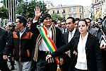 ©PATRICIO CROOKER<br /> La Paz, Bolivia<br /> A picture dated January 22, 2006 shows Bolivian President Evo Morales walking from the Congress Building to the Government Palace during the inaguration of Evo Morales at the balcony of the Government Palace.
