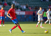 CARSON, CA - FEBRUARY 1: Keyner Brown #6 of Costa Rica passes off the ball during a game between Costa Rica and USMNT at Dignity Health Sports Park on February 1, 2020 in Carson, California.