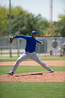 Chicago Cubs relief pitcher Riger Fernandez (47) delivers a pitch to the plate during an Extended Spring Training game against the Colorado Rockies at Sloan Park on April 17, 2018 in Mesa, Arizona. (Zachary Lucy/Four Seam Images)