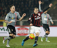 Calcio, quarti di finale di Coppa Italia: Alessandria vs Milan. Torino, stadio Olimpico, 26 gennaio 2016.<br /> AC Milan's Luca Antonelli, right, is challenged by Alessandria's Alex Sirri during the Italian Cup semifinal first leg football match between Alessandria and AC Milan at Turin's Olympic stadium, 26 January 2016.<br /> UPDATE IMAGES PRESS/Isabella Bonotto