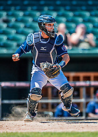 31 May 2018: New Hampshire Fisher Cats catcher Max Pentecost in action against the Portland Sea Dogs at Northeast Delta Dental Stadium in Manchester, NH. The Sea Dogs defeated the Fisher Cats 12-9 in extra innings. Mandatory Credit: Ed Wolfstein Photo *** RAW (NEF) Image File Available ***