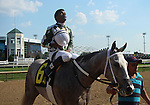 May 07, 2015 Fleet Grey (Ricardo Santana Jr.) was an easy winner of race 1, a 4 1/2 furlong dirt race for maiden 2 year old fillies.  Owner Clark O. Brewster, trainer Steven Asmussen.  By Too Much Bling x Funny Tune (Dove Hunt)  ©Mary M. Meek/ESW/CSM