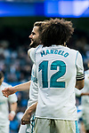 Nacho Fernandez of Real Madrid celebrates with teammate Marcelo Vieira Da Silva during the La Liga 2017-18 match between Real Madrid and RC Deportivo La Coruna at Santiago Bernabeu Stadium on January 21 2018 in Madrid, Spain. Photo by Diego Gonzalez / Power Sport Images