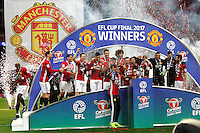 Manchester United celebrate winning the EFL Cup Final match <br /> Londra Wembley Stadium Southampton vs Manchester United - EFL League Cup Finale - 26/02/2017 <br /> Foto Phcimages/Panoramic/Insidefoto