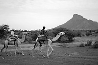 North Darfur, August 13, 2004.Janjaweed camel riders on the road ('stolen picture').