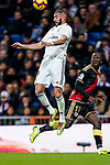 Karim Benzema of Real Madrid heads the ball during the La Liga 2018-19 match between Real Madrid and Rayo Vallencano at Estadio Santiago Bernabeu on December 15 2018 in Madrid, Spain. Photo by Diego Souto / Power Sport Images