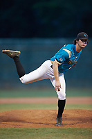Mooresville Spinners relief pitcher Andrew Dye (27) (Lenoir Rhyne) follows through on his delivery against the Concord A's at Moor Park on July 31, 2020 in Mooresville, NC. The Spinners defeated the Athletics 6-3 in a game called after 6 innings due to rain. (Brian Westerholt/Four Seam Images)