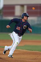 J.D. Davis (26) of the Lancaster JetHawks runs the bases during a game against the Bakersfield Blaze at The Hanger on August 5, 2015 in Lancaster, California. Bakersfield defeated Lancaster, 12-5. (Larry Goren/Four Seam Images)