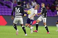 ORLANDO CITY, FL - JANUARY 31: Jackson Yueill #6 of the United States traps the ball during a game between Trinidad and Tobago and USMNT at Exploria stadium on January 31, 2021 in Orlando City, Florida.