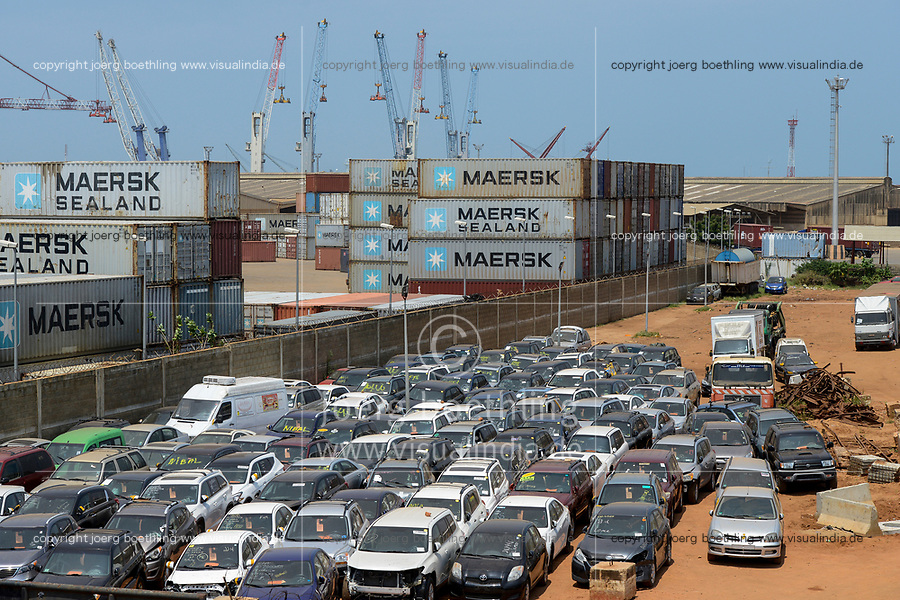 TOGO, Lome, port, PORT AUTONOME de LOMÉ (PAL), Container Terminal and RoRo terminal for used cars from Europe