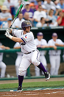 TCU's catcher Bryan Holaday against Florida State in Game 1 of the NCAA Division One Men's College World Series on Saturday June 19th, 2010 at Johnny Rosenblatt Stadium in Omaha, Nebraska.  (Photo by Andrew Woolley / Four Seam Images)