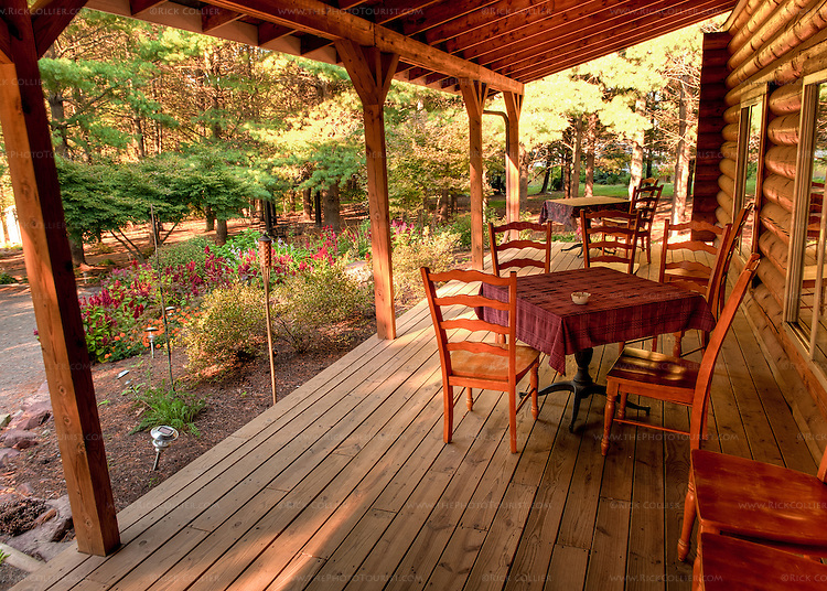 The front porch of Hidden Brook Winery offers a spacious, quiet, shaded place to sit with a glass of wine. (HDR Image)