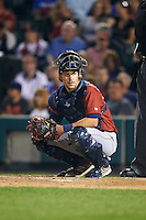 Lehigh Valley IronPigs catcher Logan Moore (5) looks to the dugout during a game against the Rochester Red Wings on July 4, 2015 at Frontier Field in Rochester, New York.  Lehigh Valley defeated Rochester 4-3.  (Mike Janes/Four Seam Images)