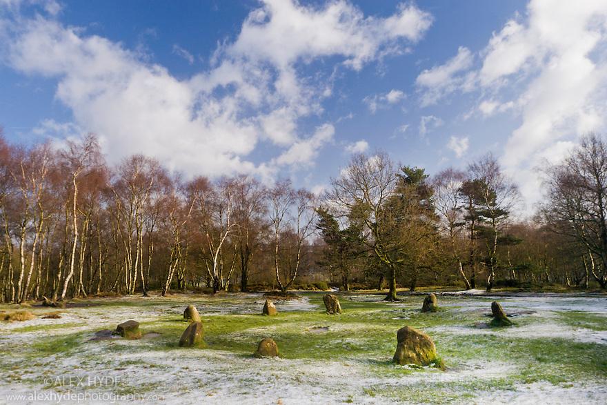 Nine Ladies Stone Circle, Birchover, Peak District National Park, UK.