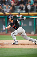 Daniel Castro (1) of the Albuquerque Isotopes bats against the Salt Lake Bees at Smith's Ballpark on April 5, 2018 in Salt Lake City, Utah. Salt Lake defeated Albuquerque 9-3. (Stephen Smith/Four Seam Images)