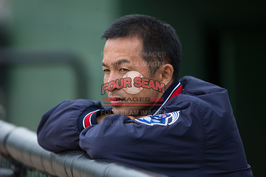 Lakewood BlueClaws Athletic Trainer Takayuki Sakurai watches batting practice prior to the game against the Kannapolis Intimidators at Kannapolis Intimidators Stadium on April 6, 2017 in Kannapolis, North Carolina.  The BlueClaws defeated the Intimidators 7-5.  (Brian Westerholt/Four Seam Images)