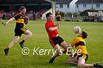 Dr Crokes keeper Alan Kelly put his body on the line to block this attack on goal from Glenbeigh/Glencar's Adrian O'Connor.