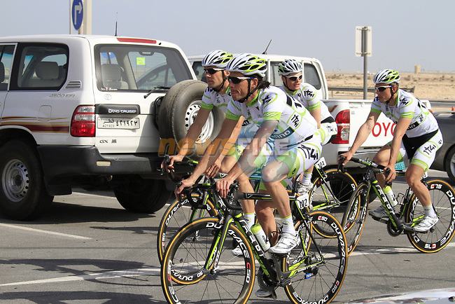 The Project IT4i team warm up before the 2nd Stage of the 2012 Tour of Qatar an 11.3km team time trial at Lusail Circuit, Doha, Qatar. 6th February 2012.<br /> (Photo Eoin Clarke/Newsfile)