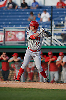 Auburn Doubledays Jake Randa (16) at bat during a NY-Penn League game against the Batavia Muckdogs on June 19, 2019 at Dwyer Stadium in Batavia, New York.  Auburn defeated Batavia 5-0 in the second game of a doubleheader.  (Mike Janes/Four Seam Images)