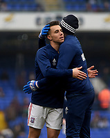 Ipswich Town's Joshua Emmanuel and Jonas Knudsen embrace each other during the pre-match warm-up <br /> Photographer Hannah Fountain/CameraSport<br /> <br /> The EFL Sky Bet Championship - Ipswich Town v Stoke City - Saturday 16th February 2019 - Portman Road - Ipswich<br /> <br /> World Copyright © 2019 CameraSport. All rights reserved. 43 Linden Ave. Countesthorpe. Leicester. England. LE8 5PG - Tel: +44 (0) 116 277 4147 - admin@camerasport.com - www.camerasport.com