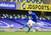 7th September 2020; Windsor Park, Belfast, County Antrim, Northern Ireland; EUFA Nations League, Group B, Northern Ireland versus Norway; Shayne Lavery warms up for Northern Ireland in an empty stadium due to pandemic