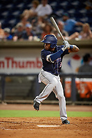 Jacksonville Jumbo Shrimp pinch hitter Anfernee Seymour (2) at bat during a game against the Pensacola Blue Wahoos on August 15, 2018 at Blue Wahoos Stadium in Pensacola, Florida.  Jacksonville defeated Pensacola 9-2.  (Mike Janes/Four Seam Images)