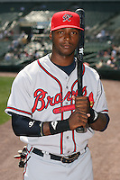 April 17th, 2008:  Outfielder Brandon Jones (28) of the Richmond Braves, Class-AAA affiliate of the Atlanta Braves, poses for a photo before a game at Frontier Field in Rochester, NY.  Photo by:  Mike Janes/Four Seam Images