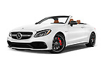 Stock pictures of low aggressive front three quarter view of 2017 Mercedes Benz C Class AMG 63 S 2 Door Convertible