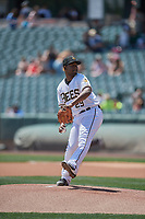 Salt Lake Bees starting pitcher Ivan Pineyro (29) delivers a pitch to the plate against the El Paso Chihuahuas at Smith's Ballpark on July 8, 2018 in Salt Lake City, Utah. El Paso defeated Salt Lake 15-6. (Stephen Smith/Four Seam Images)