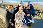 Lorraine, Denise, Mary and Jennifer O'Riordan and Luke Coffey enjoying a stroll on Banna beach on Saturday.