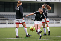 Jill Janssens of OHL (7)  shoots at the goal before  a female soccer game between Oud Heverlee Leuven and Femina White Star Woluwe  on the 5 th matchday of the 2020 - 2021 season of Belgian Womens Super League , Sunday 18 th of October 2020  in Heverlee , Belgium . PHOTO SPORTPIX.BE | SPP | SEVIL OKTEM