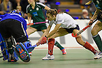 Berlin, Germany, February 01: Elisa Graeve #26 of Duesseldorfer HC in action during the 1. Bundesliga Damen Hallensaison 2014/15 final hockey match between Duesseldorfer HC (white) and HTC Uhlenhorst Muehlheim (green) on February 1, 2015 at the Final Four tournament at Max-Schmeling-Halle in Berlin, Germany. Final score 4-1 (1-0). (Photo by Dirk Markgraf / www.265-images.com) *** Local caption ***