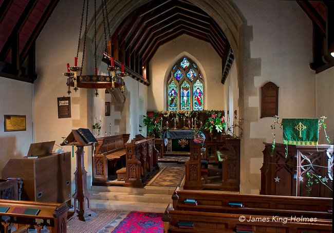 The chancel of St Lawrence Church, Tubney, Oxfordshire, UK. This is the only Protestant church designed by Augustus Pugin. The interior fittings were designed by him and remain unchanged since its consecration in 1847.