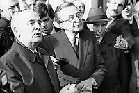 - Mikhail Gorbaciov, segretario del PCUS, Partito Comunista Sovietico, in visita a Roma, col Presidente del Consiglio Italiano Giulio Andreotti (Novembre 1989)<br />