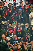 South Africa players celebrate with the Castle Lager Series trophy after the Springboks beat the Lions 19-16 in the third test to win the series 2-1.<br /> British & Irish Lions v South Africa,  3rd Test, Cape Town Stadium, Cape Town, South Africa,  Saturday 7th August 2021. <br /> Please credit: FOTOSPORT/DAVID GIBSON