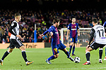 Lionel Messi of FC Barcelona (C) in action against Francis Qoquelin of Valencia CF (R) during the Copa Del Rey 2017-18 match between FC Barcelona and Valencia CF at Camp Nou Stadium on 01 February 2018 in Barcelona, Spain. Photo by Vicens Gimenez / Power Sport Images