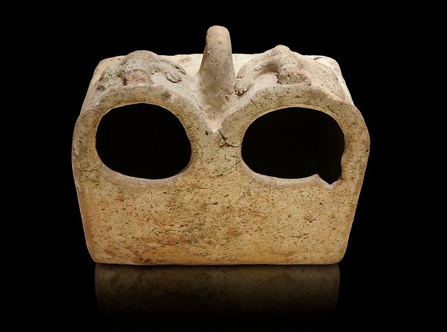 Bronze Age Anatolian terra cotta double boxes for storage - 19th to 17th century BC - Kültepe Kanesh - Museum of Anatolian Civilisations, Ankara, Turkey.  Against a black background.
