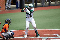Aaron McKeithan (12) of the Charlotte 49ers at bat against the UTSA Roadrunners at Hayes Stadium on April 18, 2021 in Charlotte, North Carolina. (Brian Westerholt/Four Seam Images)
