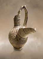 Phrygian terra cotta pottery vessel with a strainer and long pouring lip, decorated with geometric designs and images of animals and birds, from Gordion. Phrygian Collection, 9th century BC - Museum of Anatolian Civilisations Ankara. Turkey. Against an art background