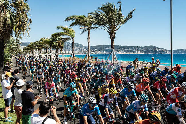 The neutralised section along Promenade des Anglais before the start of Stage 2 of Tour de France 2020, running 186km from Nice Haut Pays to Nice, France. 30th August 2020.<br /> Picture: ASO/Alex Broadway | Cyclefile<br /> All photos usage must carry mandatory copyright credit (© Cyclefile | ASO/Alex Broadway)
