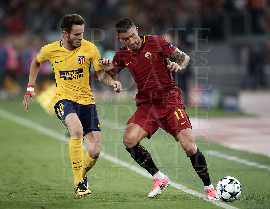 Football Soccer: UEFA Champions League AS Roma vs Atletico Madrid Stadio Olimpico Rome, Italy, September 12, 2017. <br /> Roma's Aleksandar Kolarov (r) in action with Atletico Madrid's Saul Niguez (l) during the Uefa Champions League football soccer match between AS Roma and Atletico Madrid at at Rome's Olympic stadium, September, 2017.<br /> UPDATE IMAGES PRESS/Isabella Bonotto