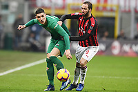 Nikola Milenkovic of Fiorentina  and Gonzalo Higuain of AC Milan compete for the ball during the Serie A 2018/2019 football match between AC Milan and ACF Fiorentina at stadio Giuseppe Meazza in San Siro, Milano, December 22, 2018 <br />  Foto Matteo Gribaudi / Insidefoto