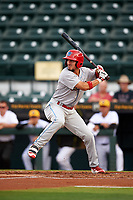 Clearwater Threshers designated hitter Herlis Rodriguez (27) at bat during a game against the Bradenton Marauders on April 18, 2017 at LECOM Park in Bradenton, Florida.  Clearwater defeated Bradenton 4-2.  (Mike Janes/Four Seam Images)