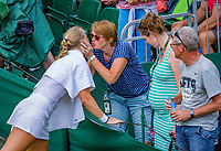 London, England, 4 th. July, 2018, Tennis,  Wimbledon, Womans singles second round, Kiki Bertens (NED) kisting her mother after her win<br /> Photo: Henk Koster/tennisimages.com