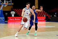 43 KM<br /> GRONINGEN -  Basketbal,  Donar - Den Helder Suns Elite A seizoen 2020--2021, 27-03-2021, Donar speler Damjan Rudez in duel met Den Helder speler Nino Gorissen