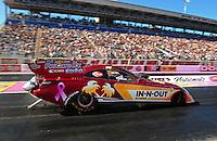 Oct. 28 2011; Las Vegas, NV, USA: NHRA funny car driver Melanie Troxel during qualifying for the Big O Tires Nationals at The Strip at Las Vegas Motor Speedway. Mandatory Credit: Mark J. Rebilas-