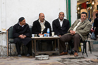 Tripoli, Libya - Libyan Men at Coffee Shop in the Medina (Old City).  Relaxation, Refreshment.